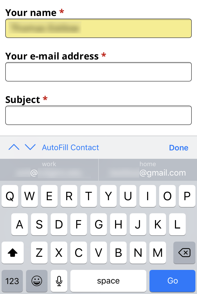 Autofill Forms Iphone