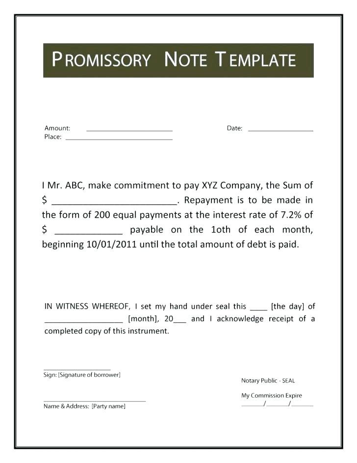 Automobile Promissory Note Form Free