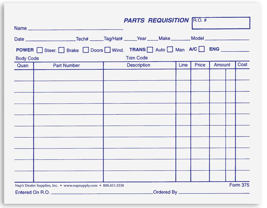 Automotive Parts Requisition Forms