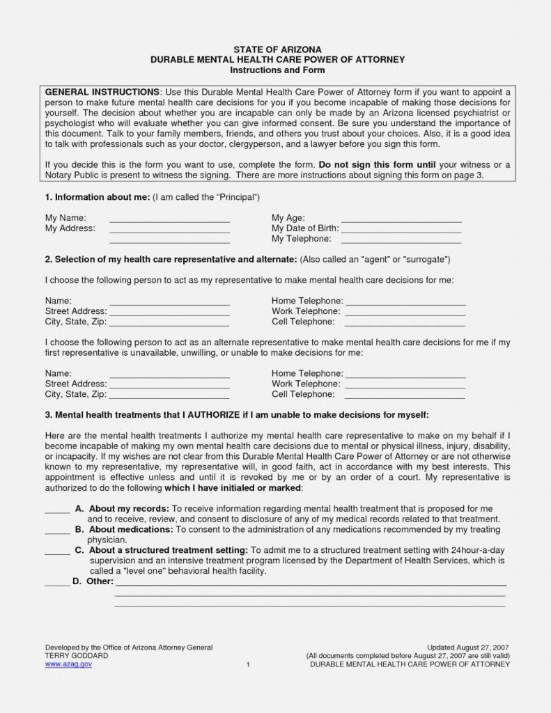 Az General Power Of Attorney Form