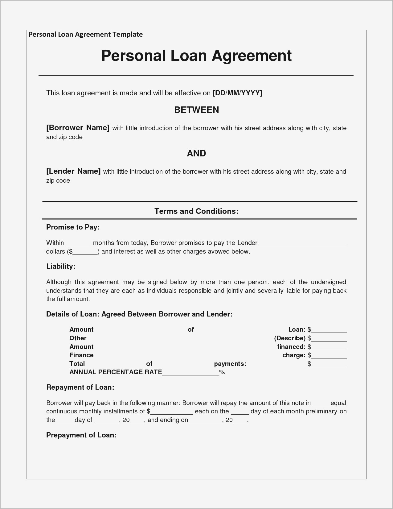 Contractor Agreement Form Awesome Free Personal Loan Agreement Form Template $1000 Approved In 2 Samples