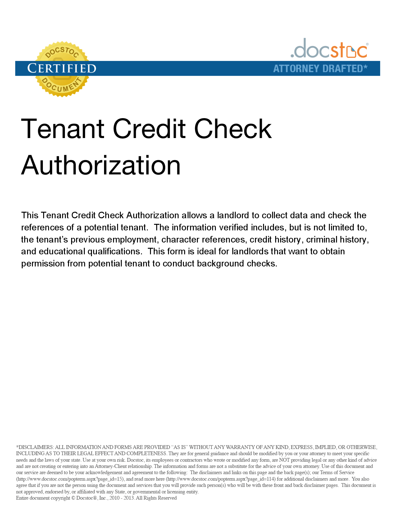 Background Check Authorization Form Landlord