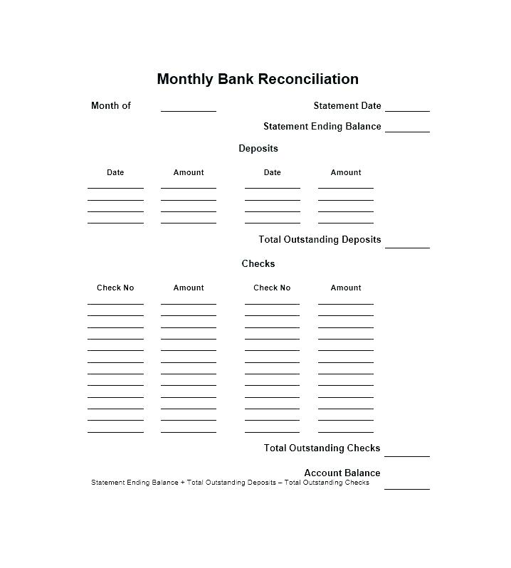 Bank Checking Account Reconciliation Form