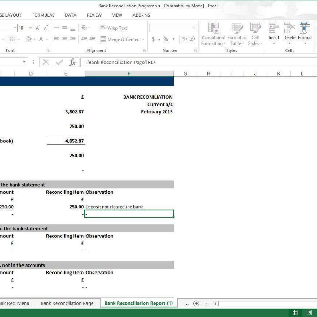 Bank Of America Checking Account Reconciliation Form