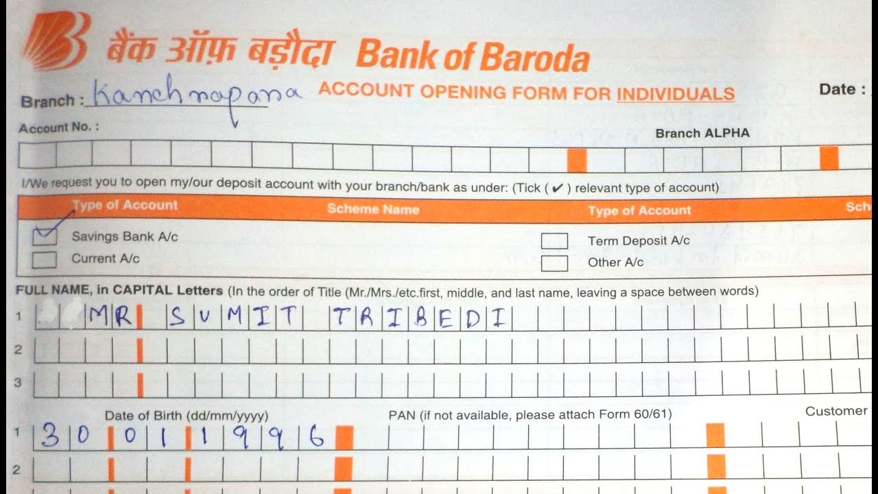 Bank Of Baroda Mobile Banking Form Pdf