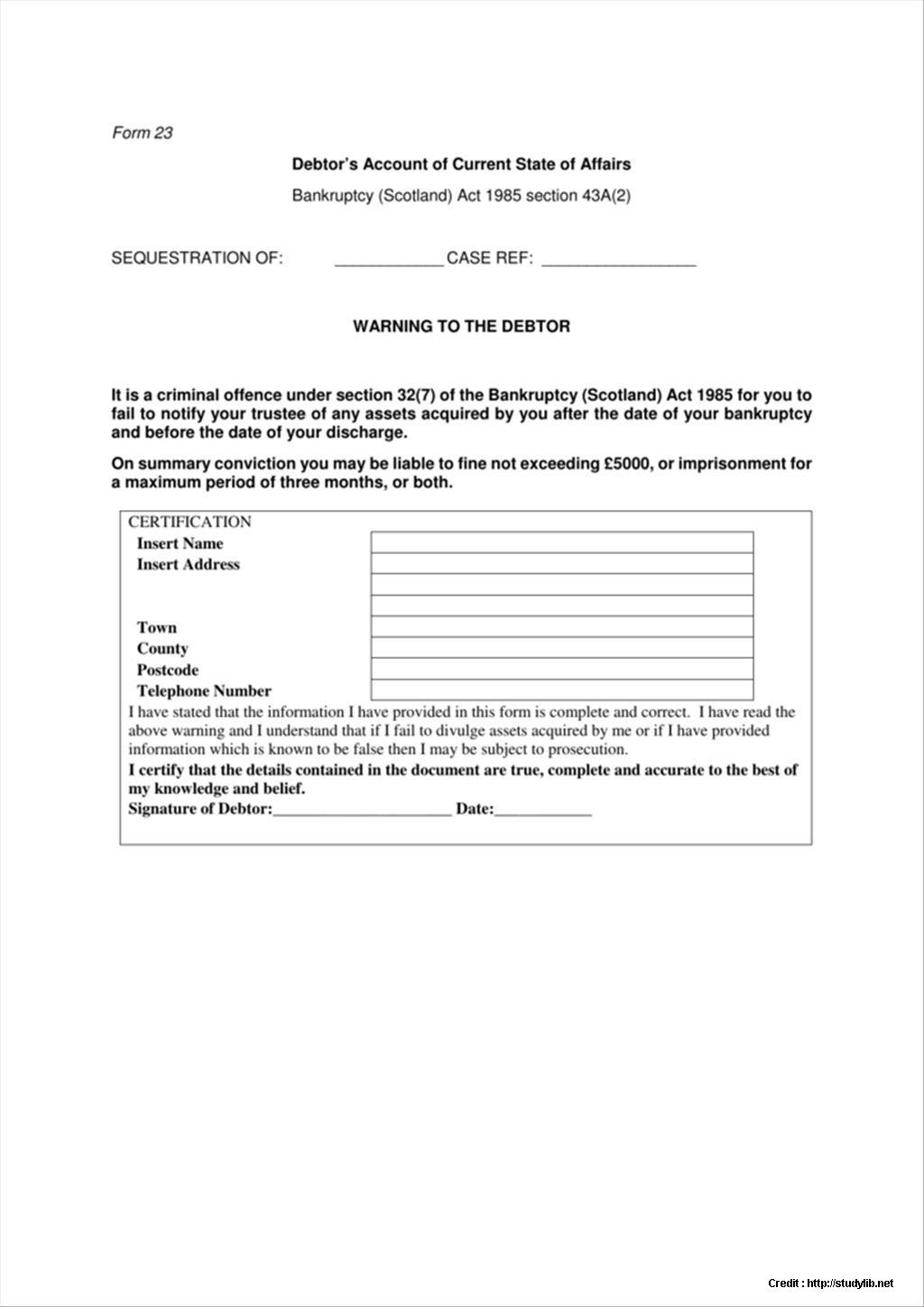 Bankruptcy Application Form Scotland