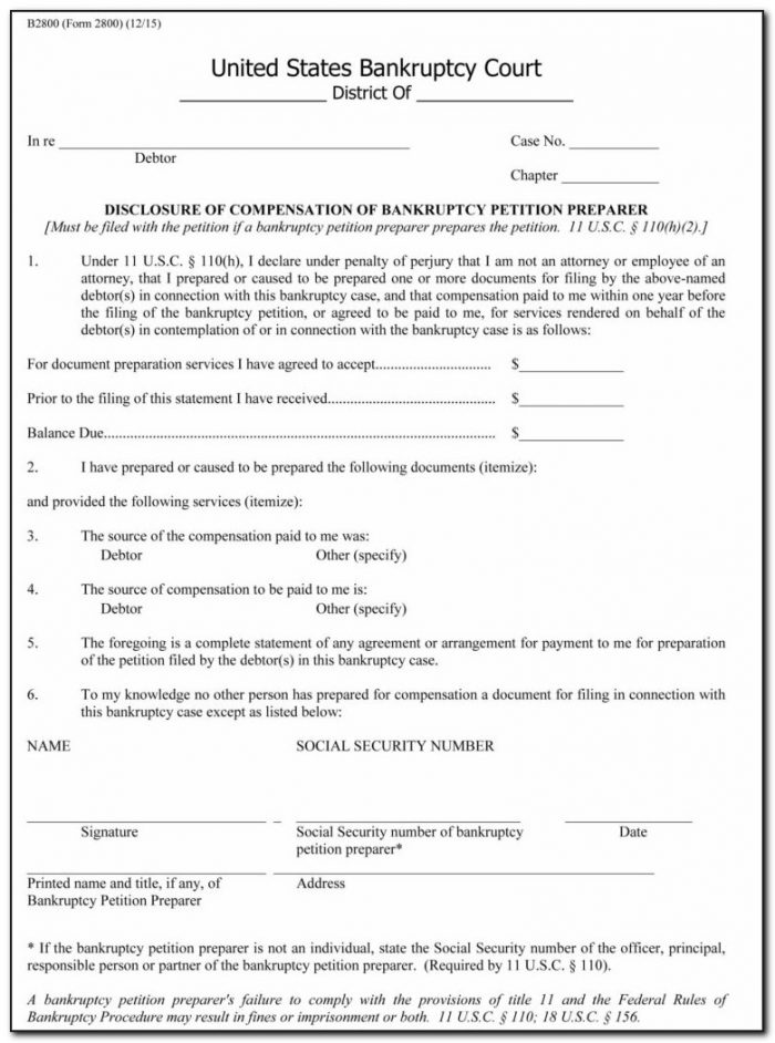 Bankruptcy Petition Form 10