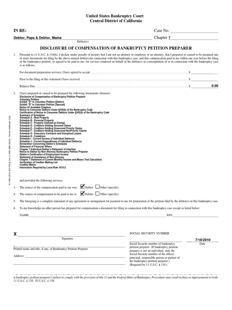 Bankruptcy Petition Under Chapter 7