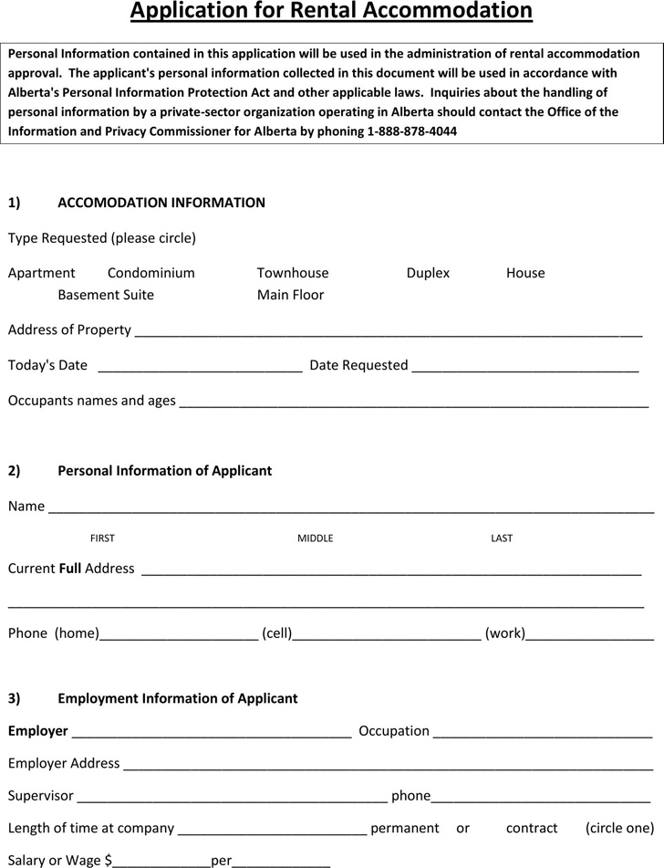 Basement Rental Agreement Form Alberta