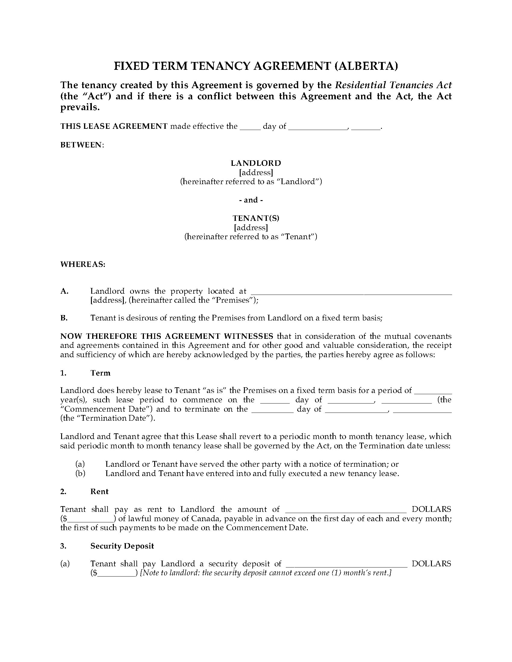 Basement Rental Agreement Form Bc