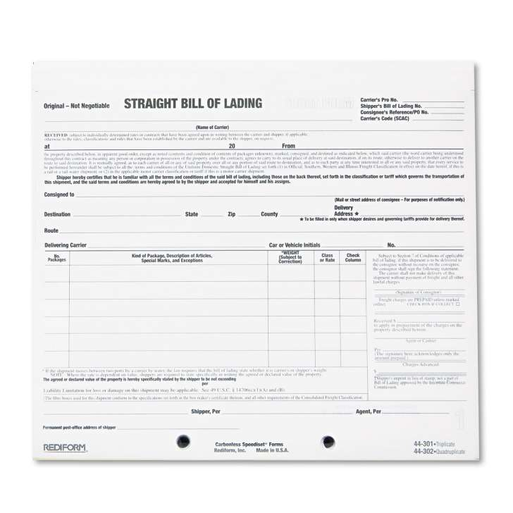Bill Lading Form Free Download