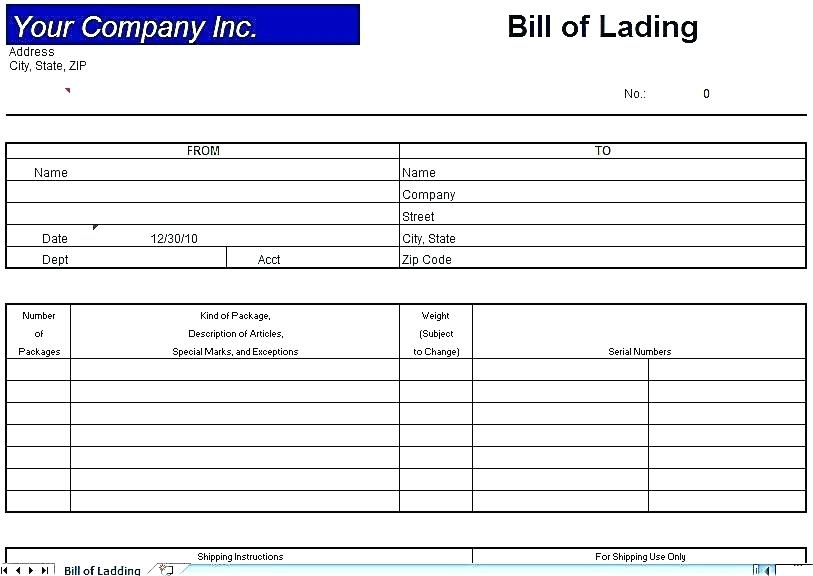 Bill Of Lading Pdf Form