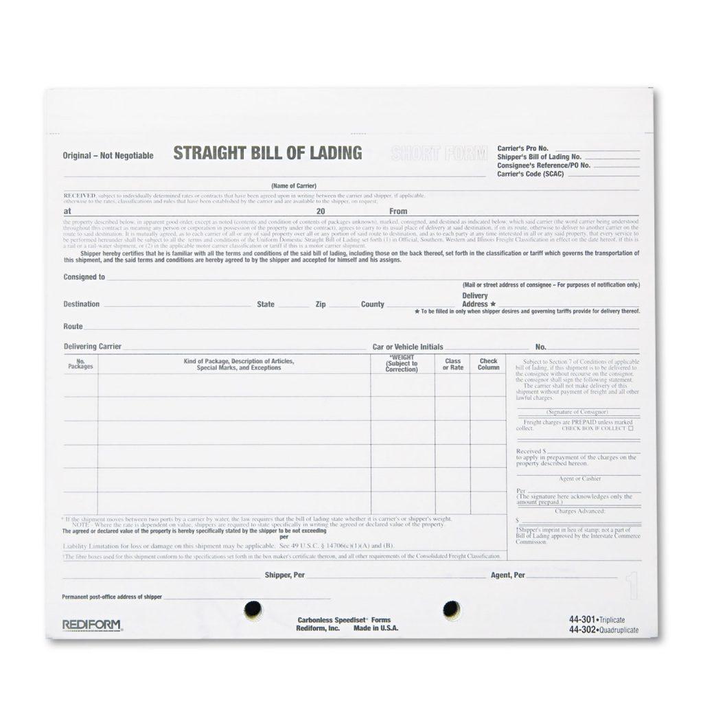 Bill Of Lading Pdf Format