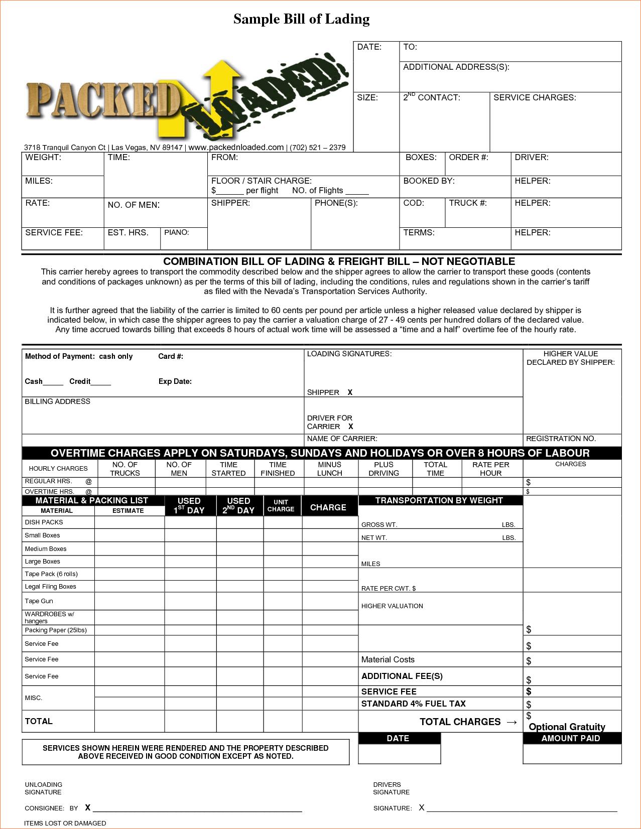 Bill Of Lading Sample Format Document Sample