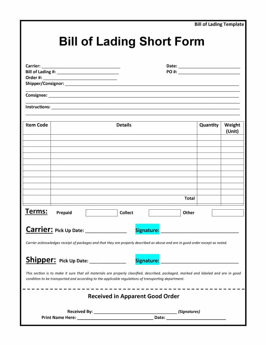 Bill Of Lading Short Form Free