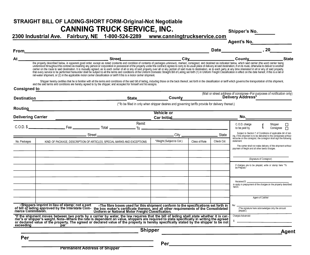 Blank Bill Of Lading Form Pdf