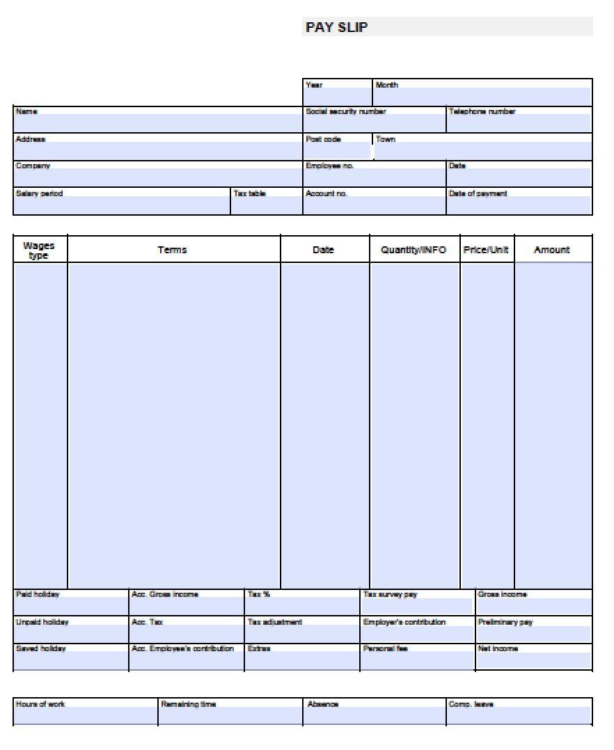 Blank Check Stub Format
