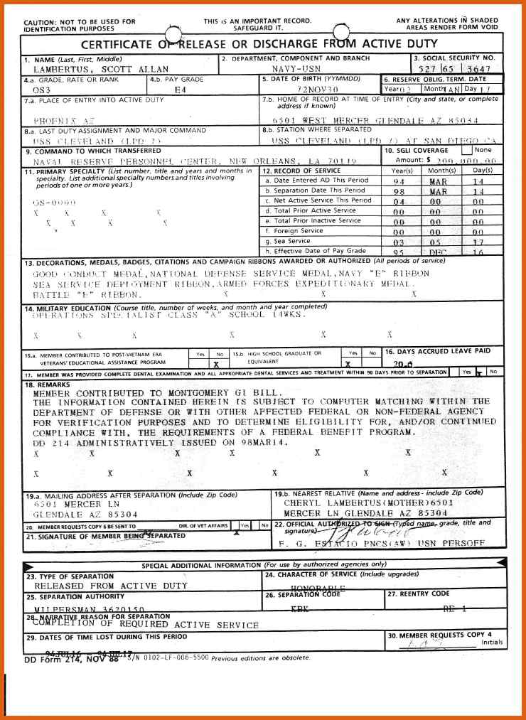 Blank Copy Of Dd214 Form