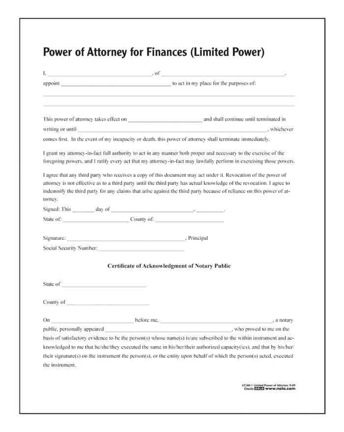 Blank Durable Power Of Attorney Form California