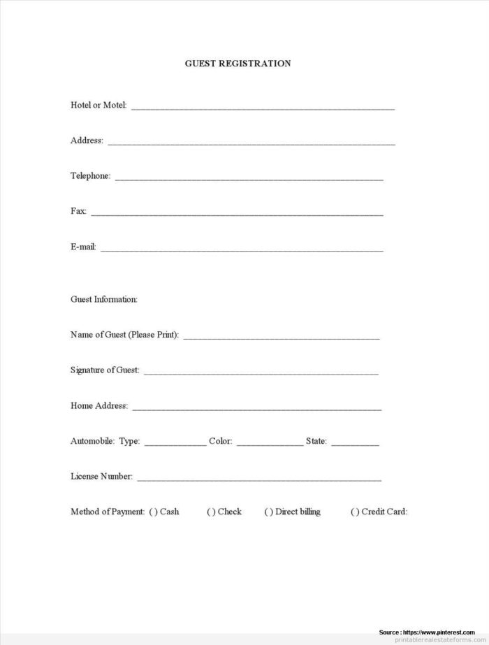 Blank Hotel Registration Form Template