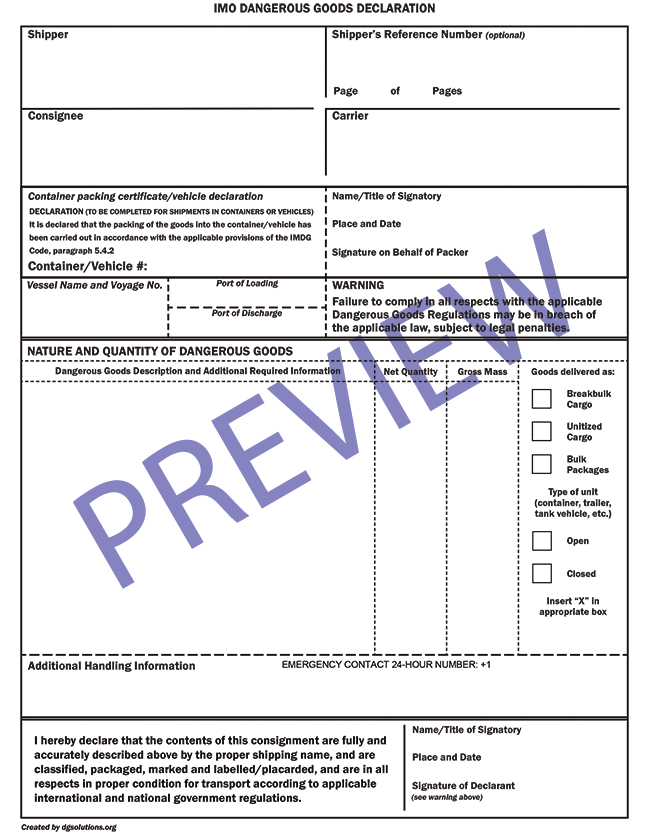 Blank Imo Dangerous Goods Form