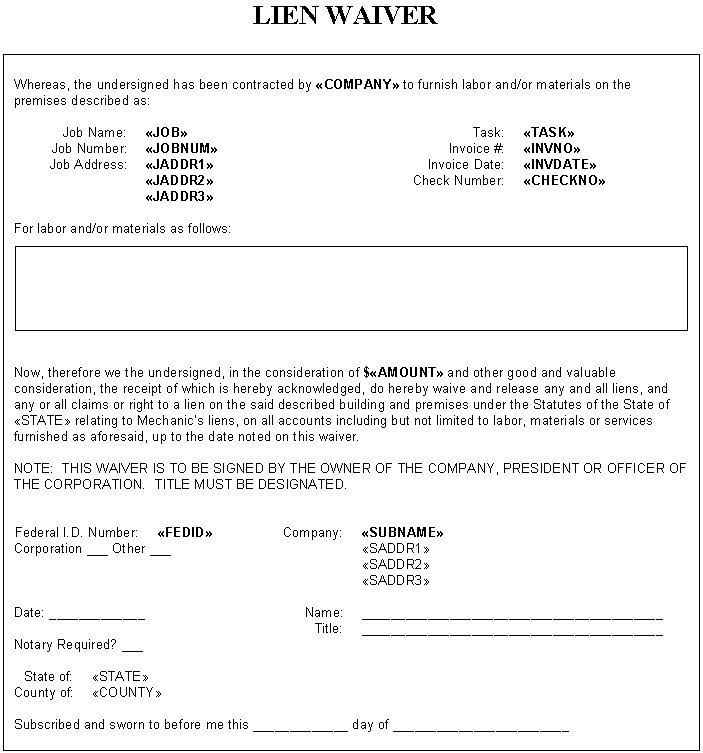 Blank Partial Lien Waiver Form