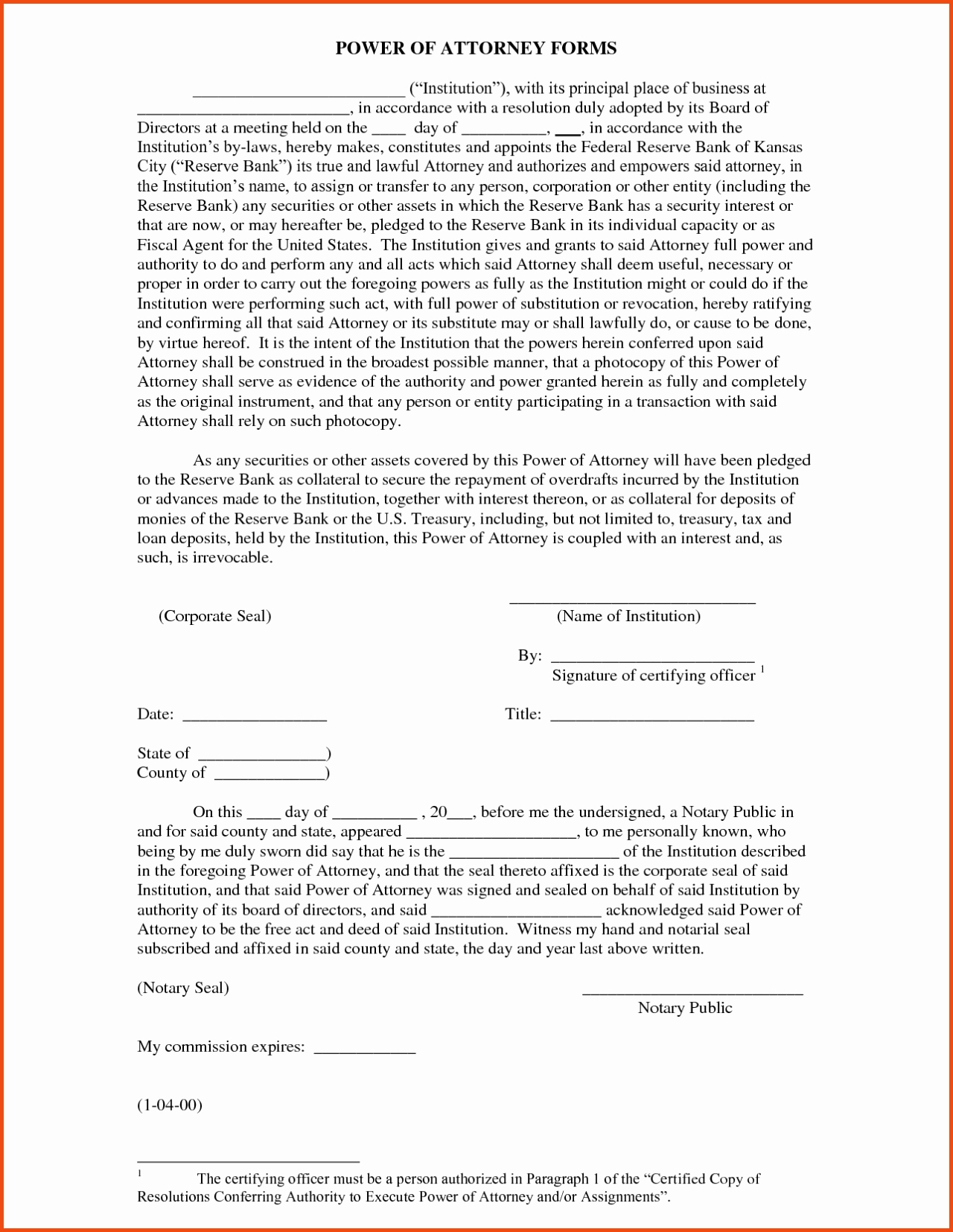 Blank Power Of Attorney Form Nj