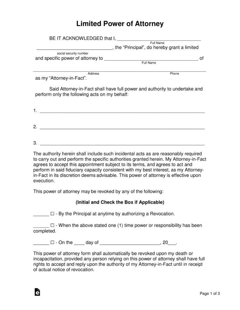 Blank Power Of Attorney Form Oklahoma