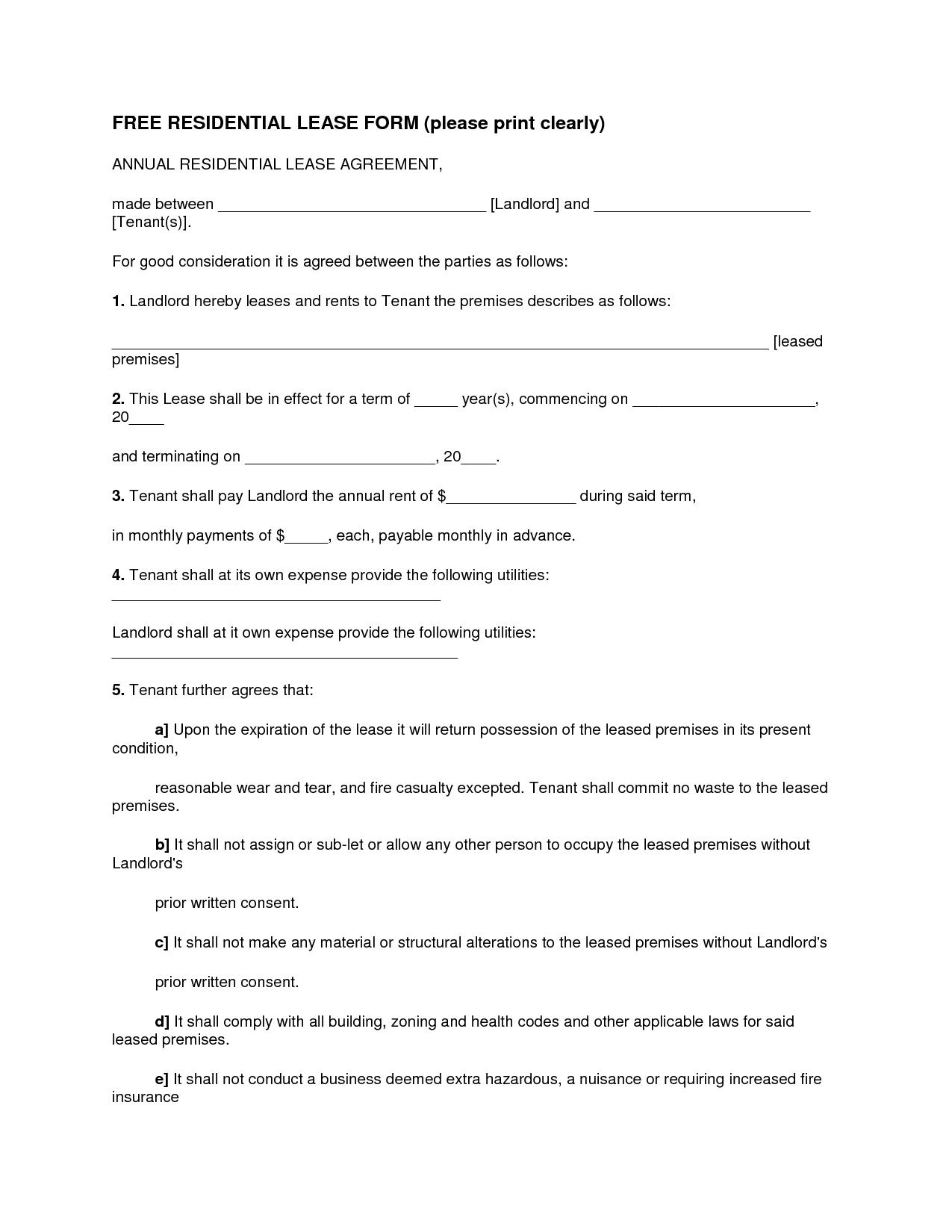 Blank Printable Rental Agreement Form