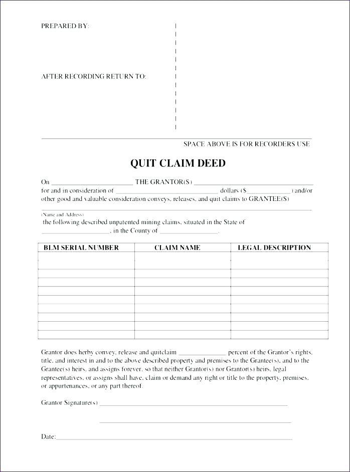 Blank Quit Claim Deed Form Arizona