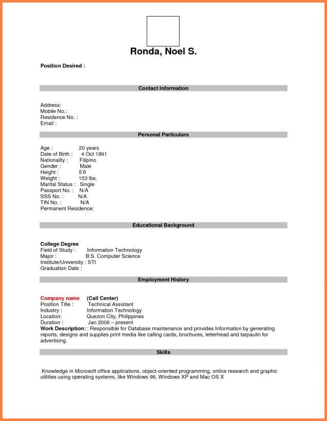 Blank Resume Form Printable