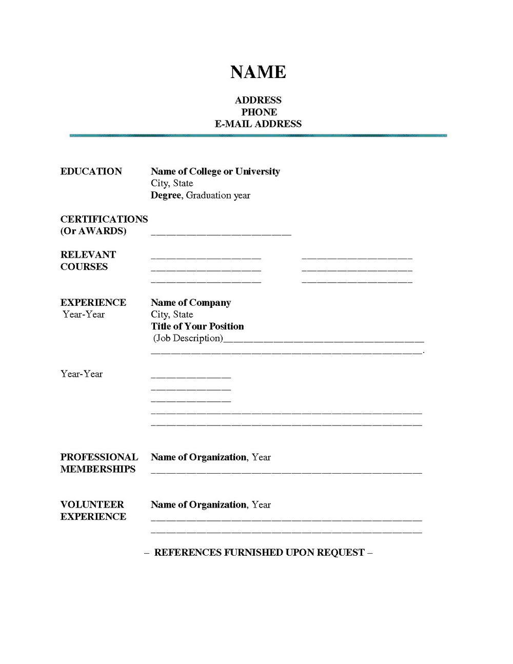 Blank Resume Format For Freshers Pdf