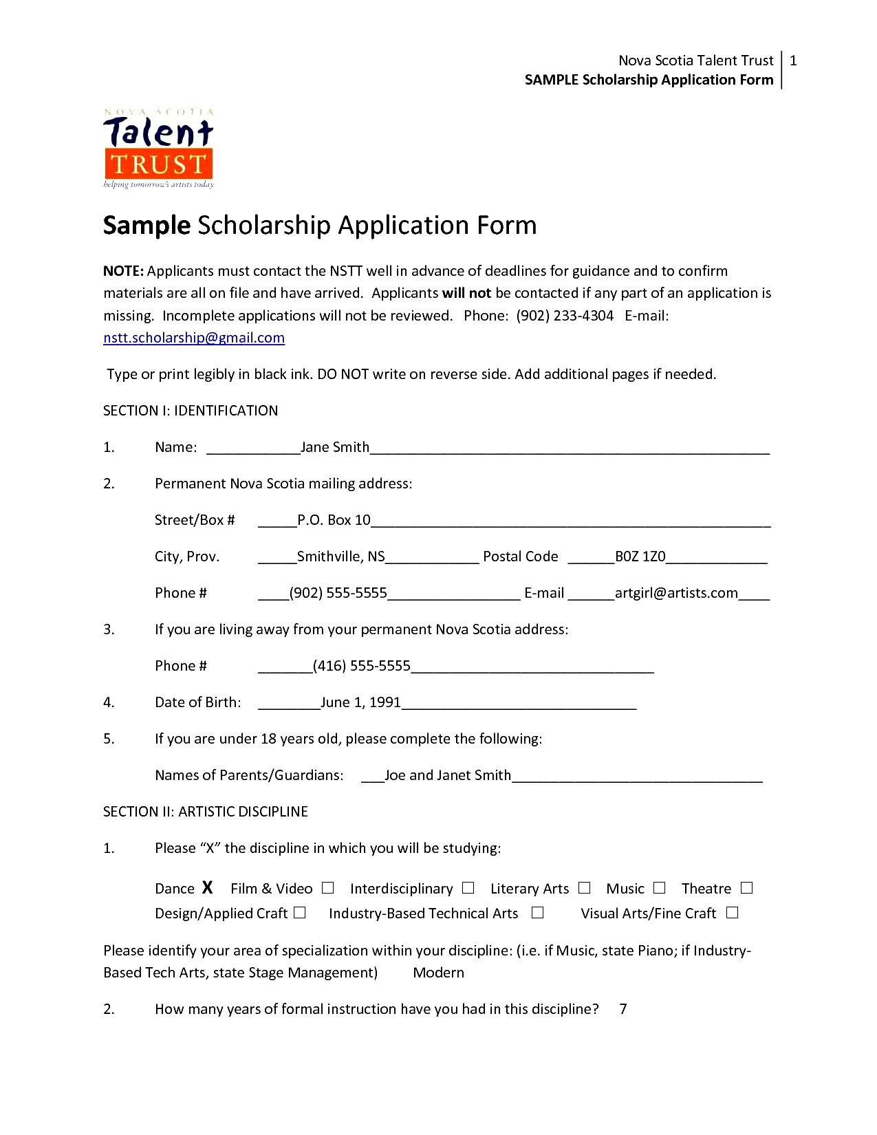 Scholarship Application Form Templates Blank Functional Besides Inside Simple Application Form Pdf