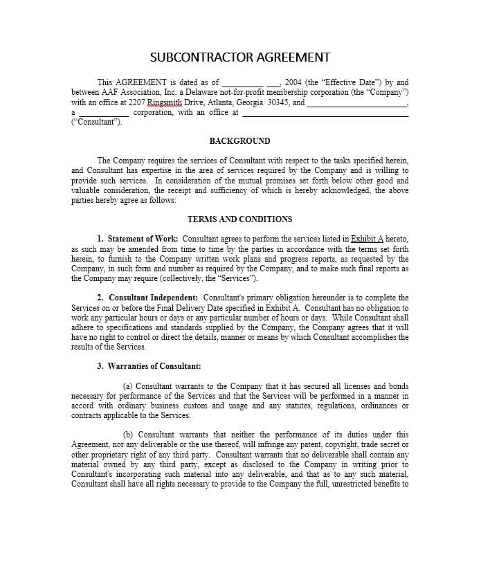 Blank Subcontractor Agreement Forms