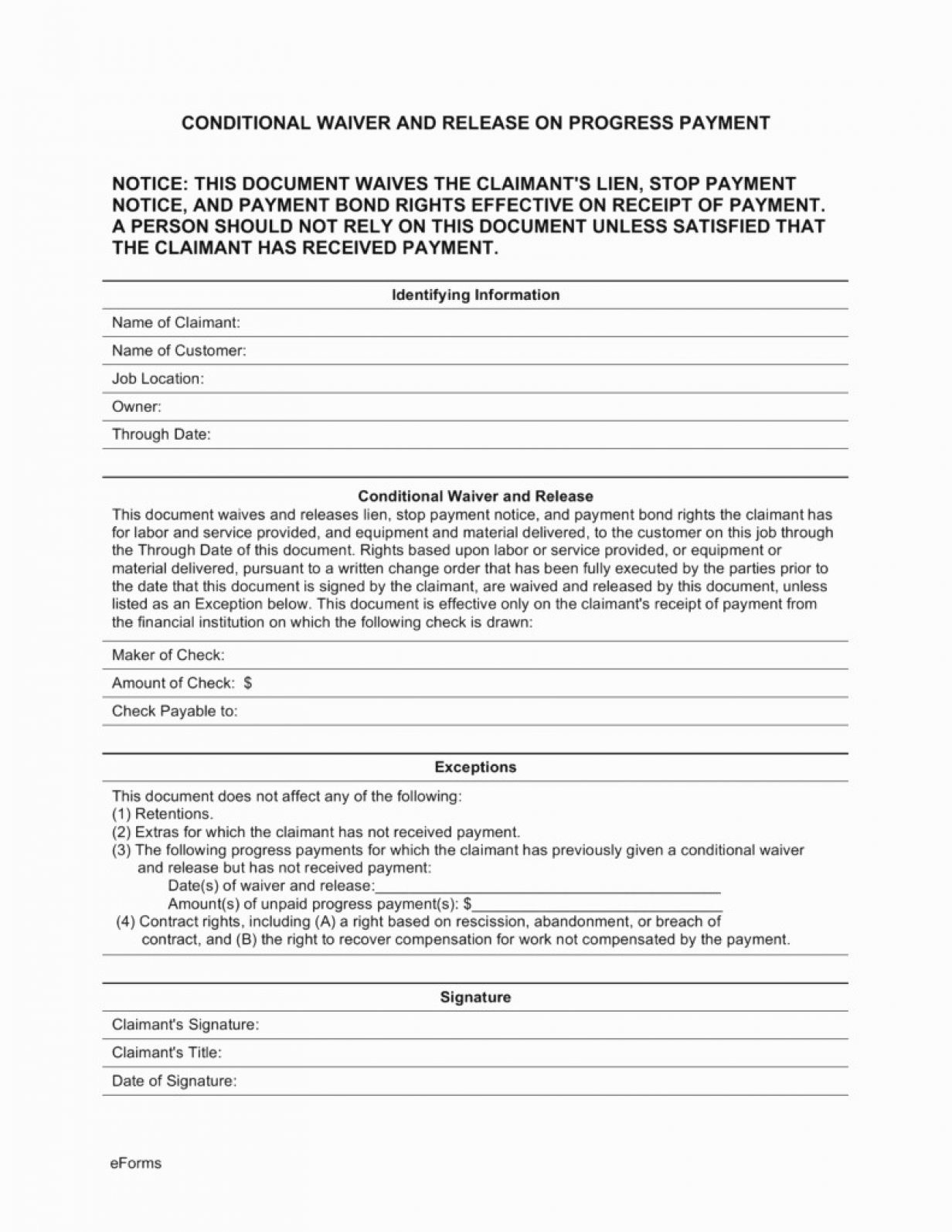 Blank Waiver Of Lien Form Illinois