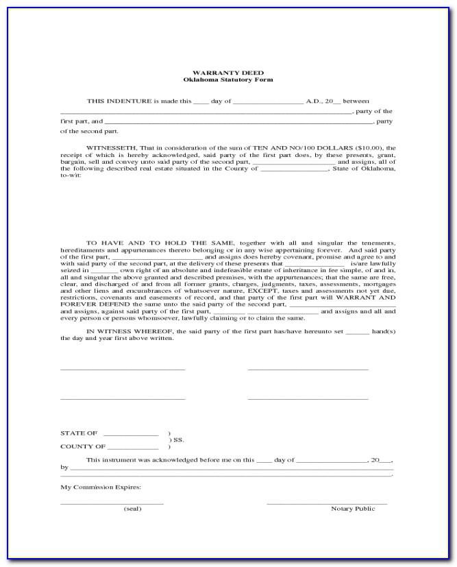 Blank Warranty Deed Form Oklahoma