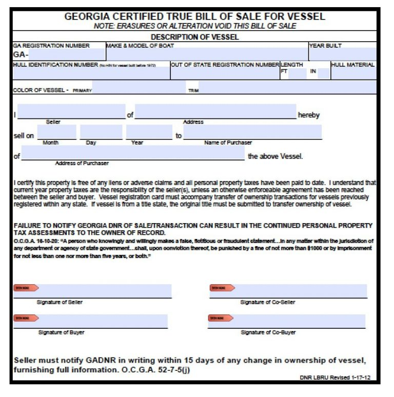 Boat Registration Form Ga