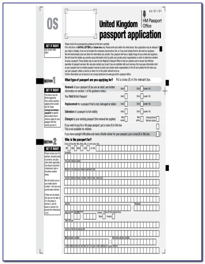 British Passport Renewal Forms C1