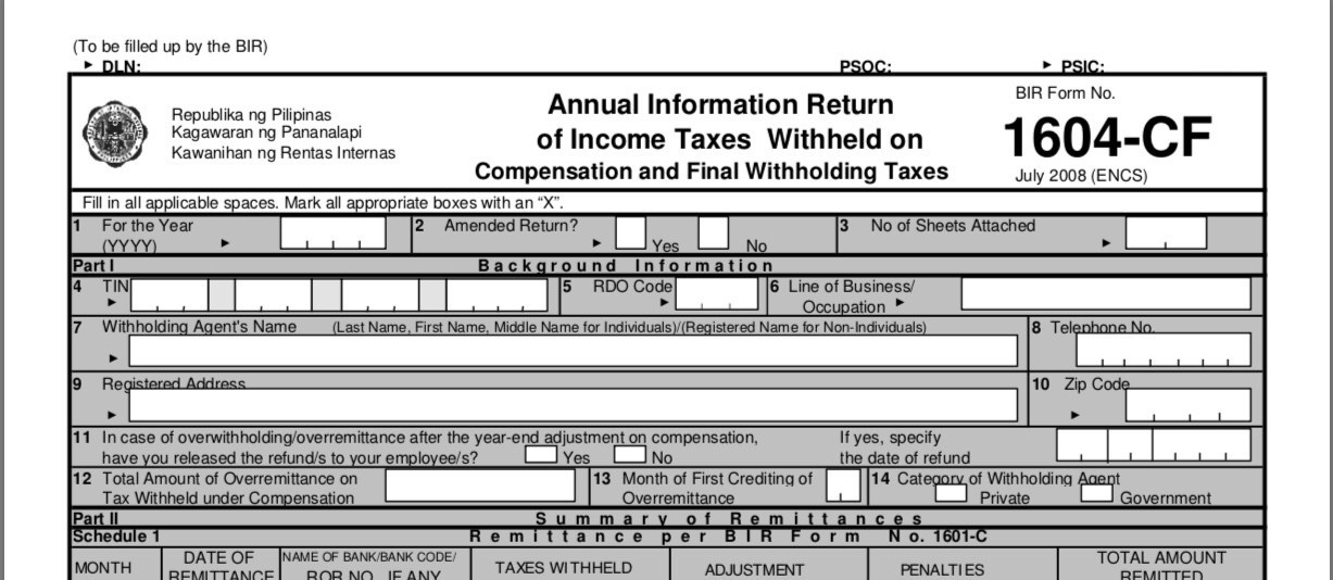 Bureau Of Internal Revenue Form 1604cf