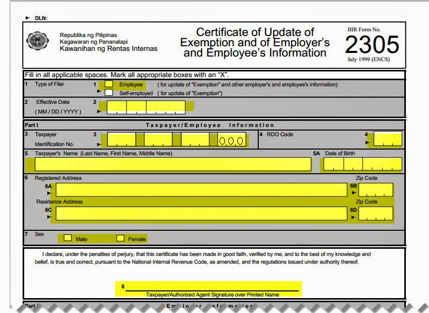 Bureau Of Internal Revenue Form 2305