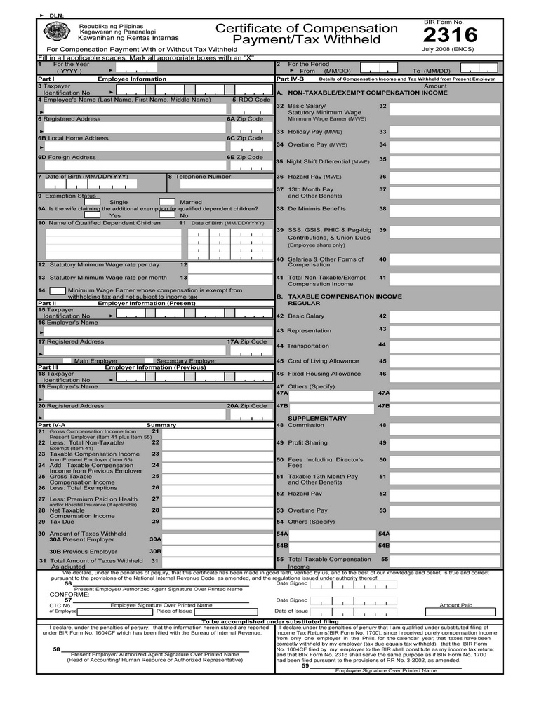 Bureau Of Internal Revenue Form 2306