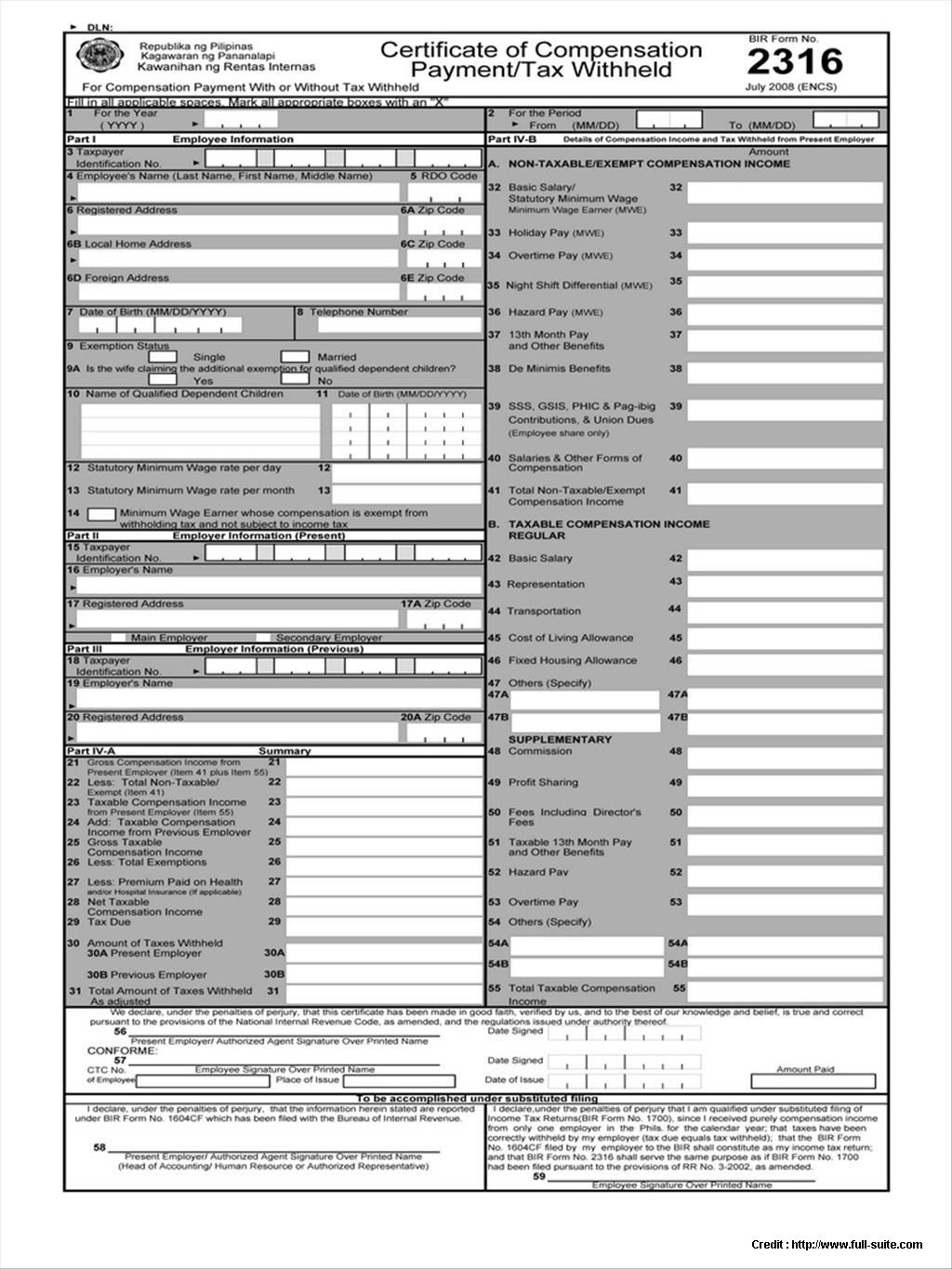 Bureau Of Internal Revenue Form 2316