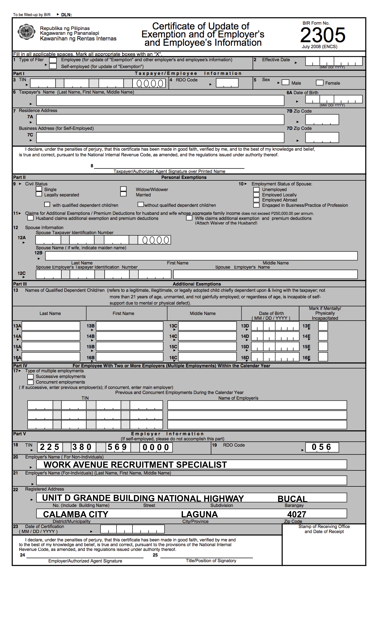 Bureau Of Internal Revenue Philippines Form 2305