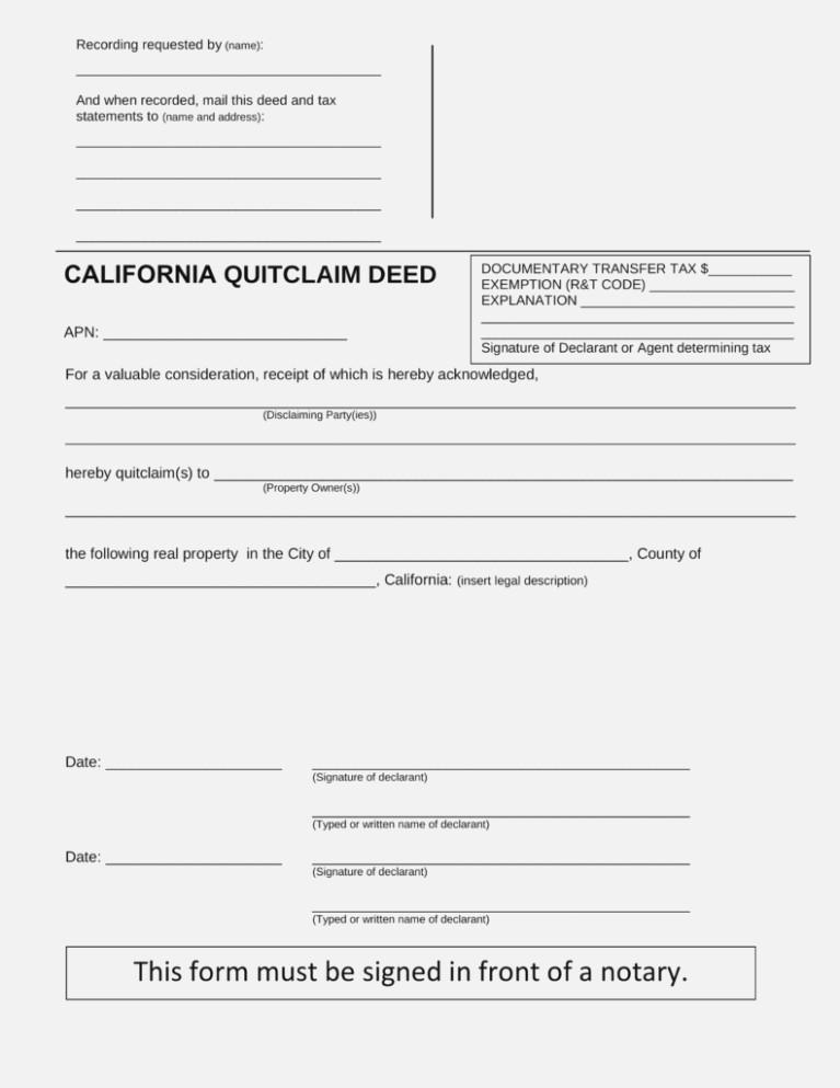 Ca Quit Claim Deed Form Free