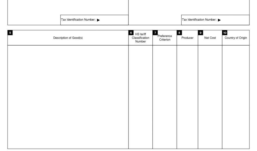 Cafta Certificate Of Origin Form