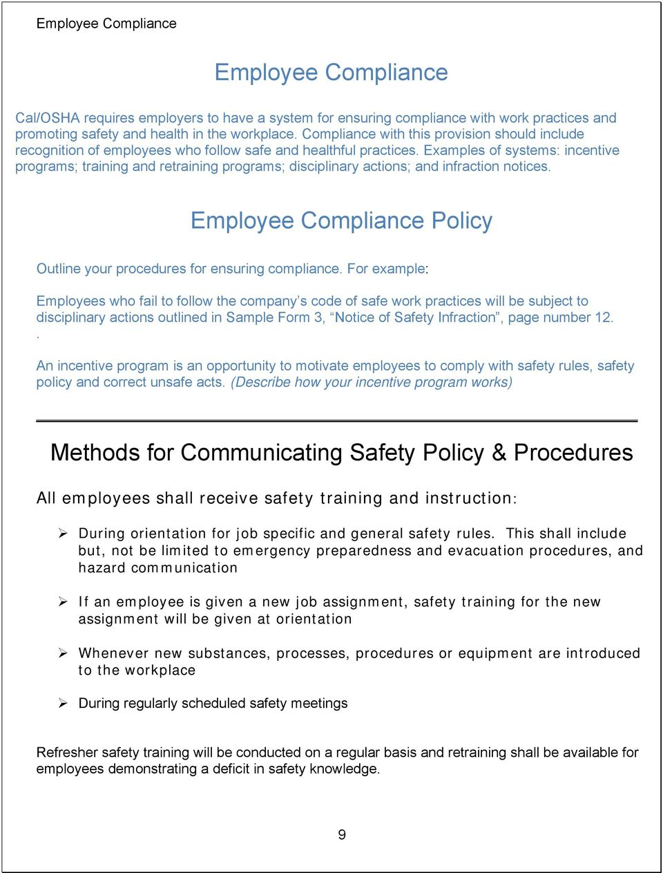 Cal Osha Safety Meeting Forms