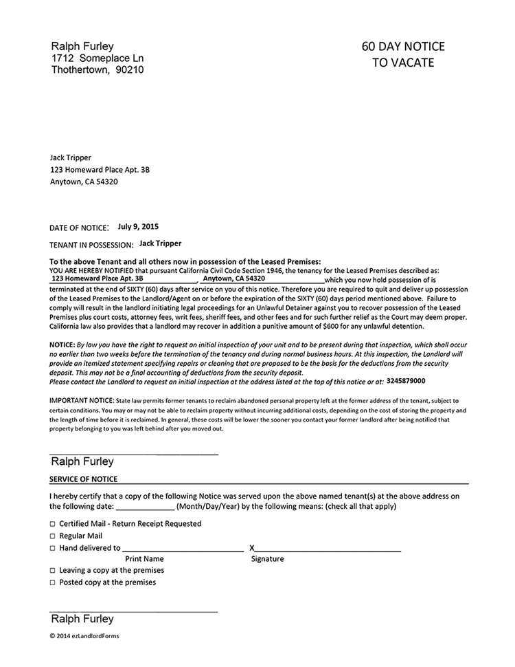 California 60 Day Eviction Notice Form