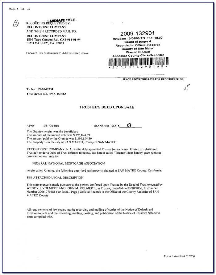 California Deed Of Trust Document