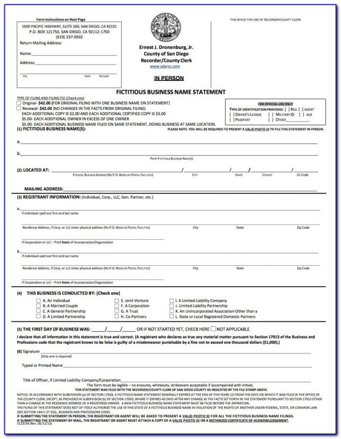 California Fictitious Business Name Form Riverside County