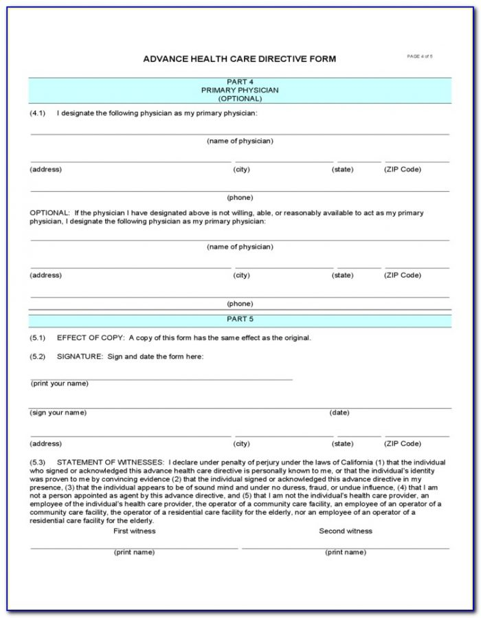 California Medical Association Advance Directive Form